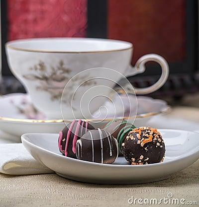 Chocolate Truffles with Tea Cup