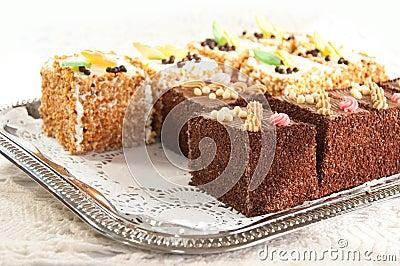 Chocolate and vanilla cakes