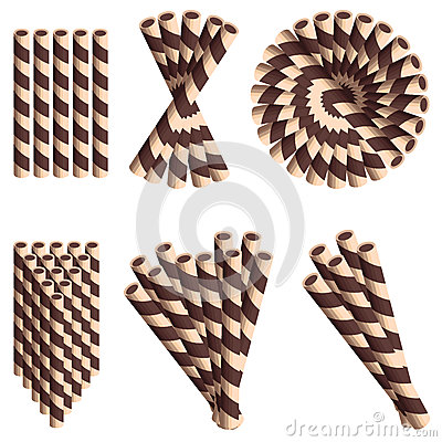 Free Chocolate Wafer Straws In Cartoon Style Set Isolated On White Background. Stock Photo - 86212880