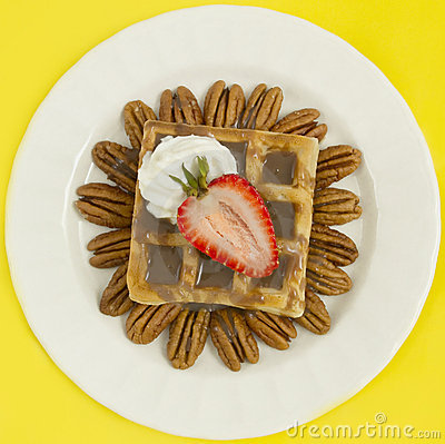 Chocolate Waffle With Strawberry and Nuts