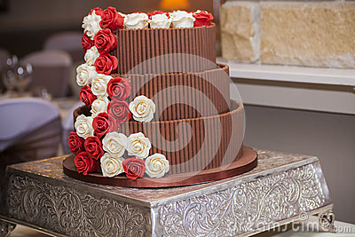 chocolate wedding cake with red roses chocolate wedding cake with roses stock photo image 12813