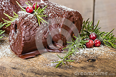 Chocolate Yule log with cranberries
