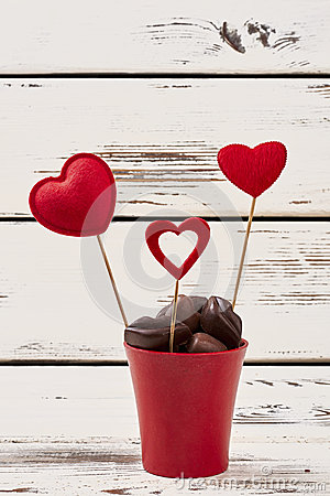 Free Chocolates And Red Hearts. Royalty Free Stock Photography - 83535857