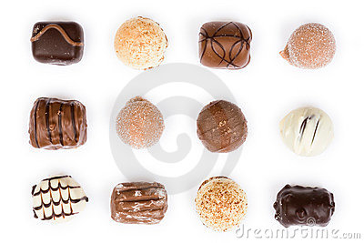 Chocolates on white