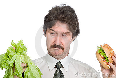 Choice of the businessman-salad or hamburger