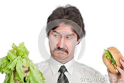 Choice of the businessman-salad or hamburger