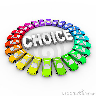 Free Choice - Colored Cars Around Word Royalty Free Stock Photos - 13370358