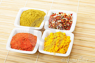 Choice of spices on mat