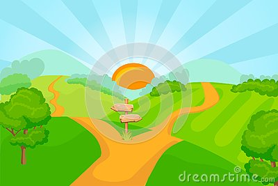 Choice between two roads Vector Illustration