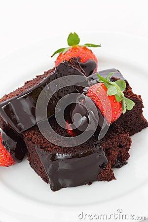 Chokladefterrättjordgubbe