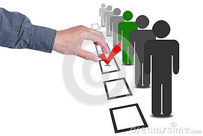 Choose people in selection election vote boxes