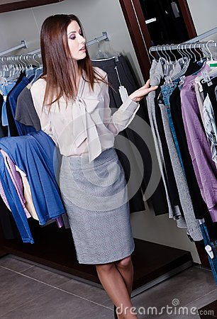 Choosing clothes at the store