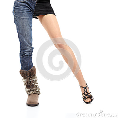 Choosing clothing concept casual or elegant woman model legs
