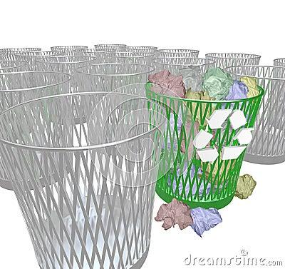 Choosing to Recycle - Many Trash Bins