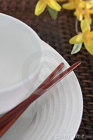 Chop Sticks, Bowl and Plate