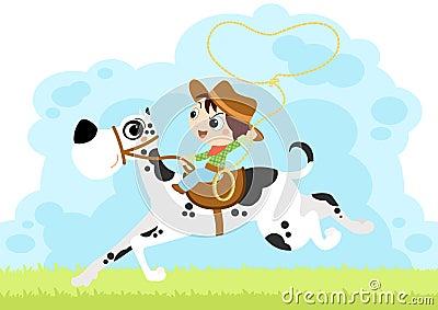 Chłopiec kowboja psa ogromna mała sztuka