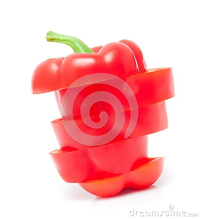 Chopped bell peppers isolated