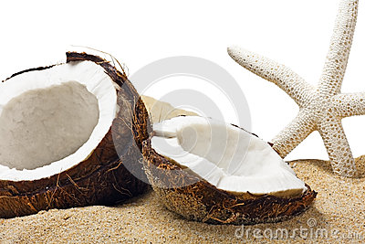 Chopped coconut in the sand
