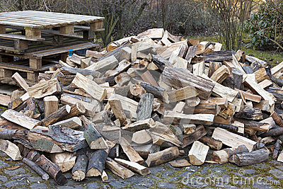 Chopped firewood on a pile