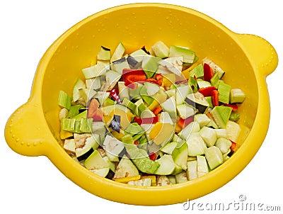 Chopped raw vegetables
