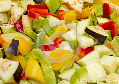 Chopped raw vegetables