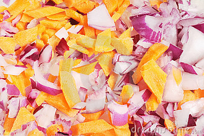 Chopped  red  onion  and  carrot