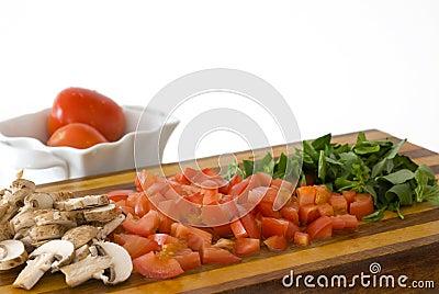 Chopped Tomatoes, Mushrooms, and Basil