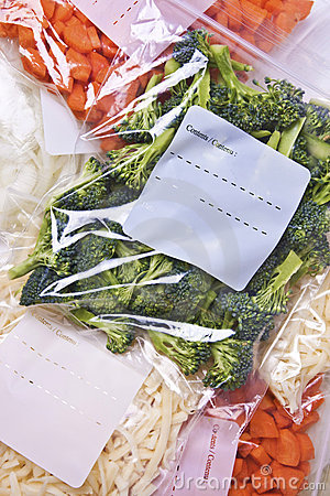 Free Chopped Vegetables In Freezer Bags Stock Image - 21883281