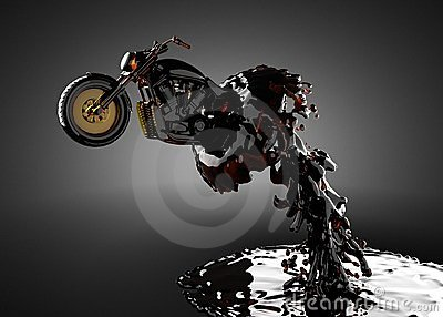 Chopper bike in liquid