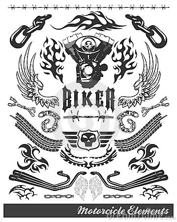 Chopper Motorcycle Elements - Vector - Eps Stock Images ...