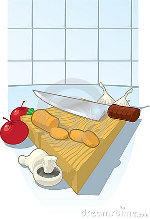 Chopping Board with knife