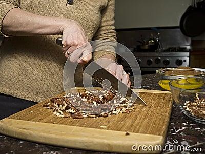 Chopping pecans