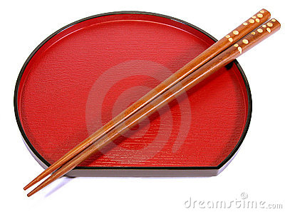 Chopsticks and plate