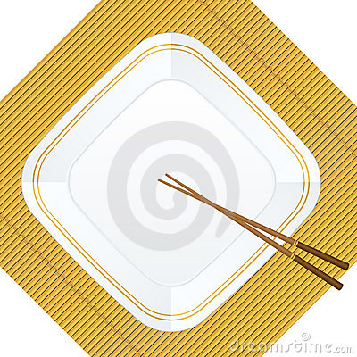 Chopsticks and plate on bamboo cover