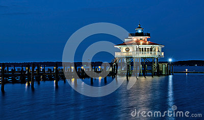 Choptank River Lighthouse at night Editorial Image