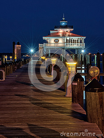 Choptank River Lighthouse at night Editorial Stock Photo