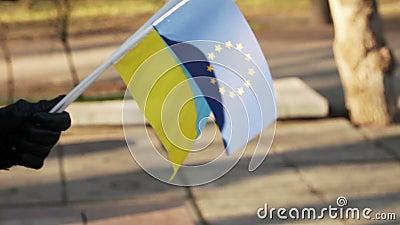 Chorągwiana UE i Ukraina zbiory