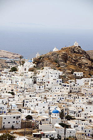 Chora capital  view of aegean sea Ios Cyclades