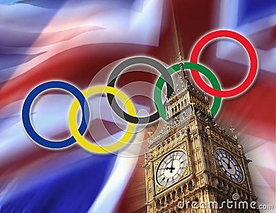 Chorągwianej British 2012 gry London olimpijski Fotografia Editorial