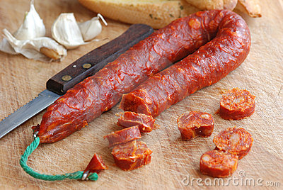 Chorizo with garlic bread