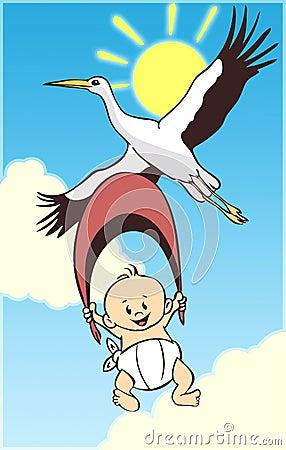 Chéri et cigogne de dessin animé
