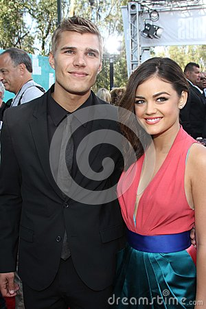 Chris Zylka, Lucy Hale at the 2012 MTV Movie Awards Arrivals, Gibson Amphitheater, Universal City, CA 06-03-12 Editorial Photo