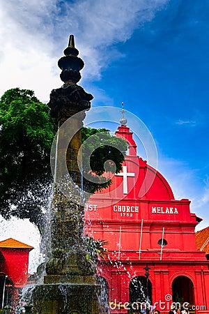 Free Christ Church Melaka And Victorian Fountain Royalty Free Stock Image - 52462076