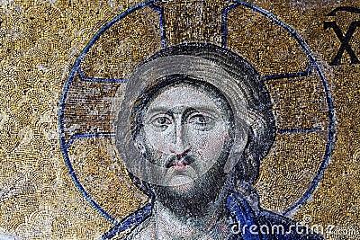 Christ Pantocrator ruler mosaic in Hagia Sophia