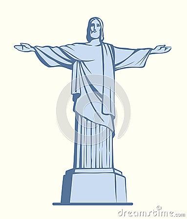 christ the redeemer rio de janeiro brazil vector sketch