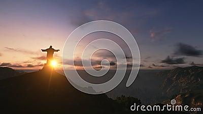Christ the Redemee rat Sunset, Rio de Janeiro, Brazil, 3D render