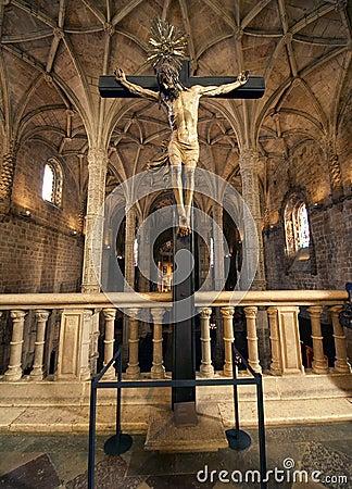Christ statue inside the Hieronymites Monastery