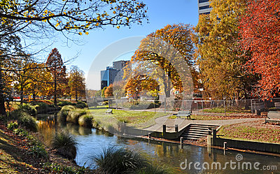 Christchurch City & Avon River in Autumn Editorial Stock Photo