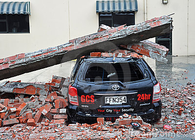Christchurch Earthquake - Car Crushed by Bricks Editorial Stock Photo