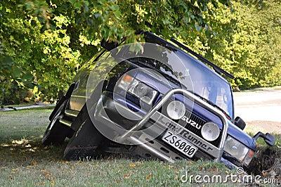 Christchurch Earthquake - Car Falls into Crack Editorial Photography